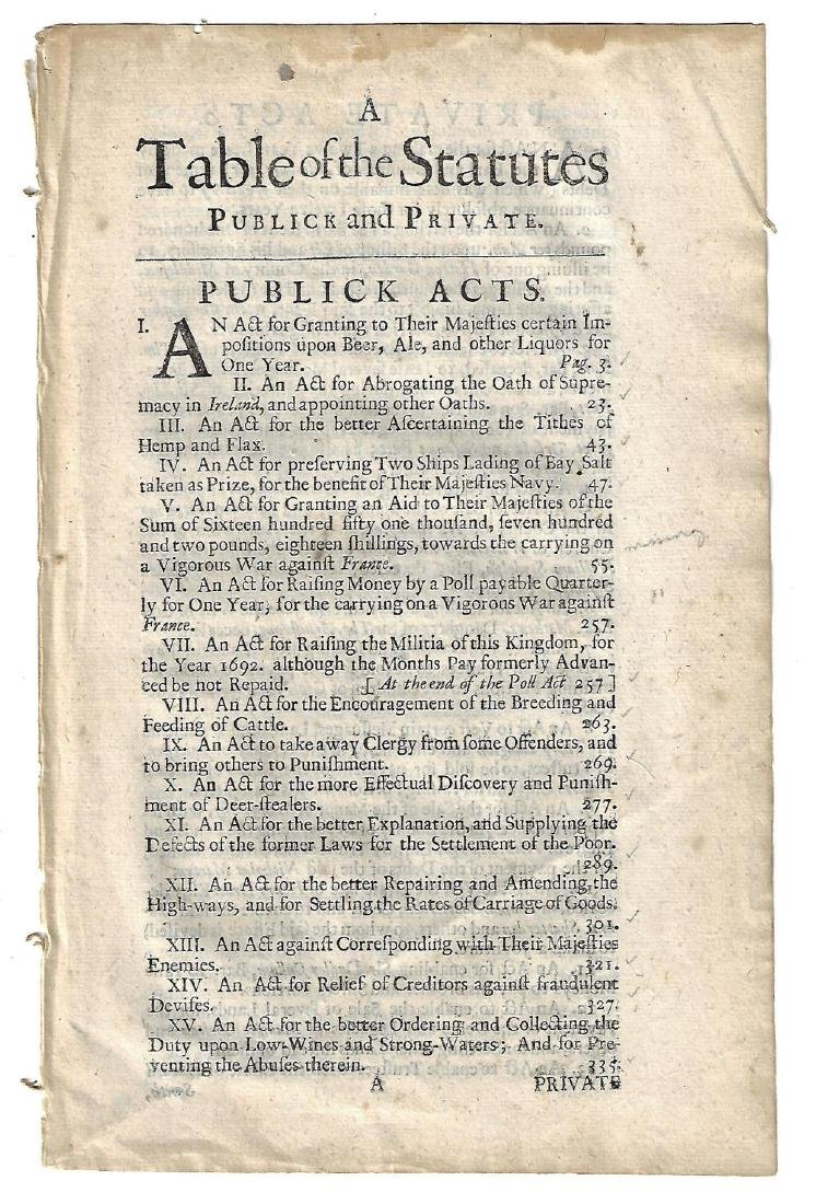 1691 Reign of William and Mary Acts - 2