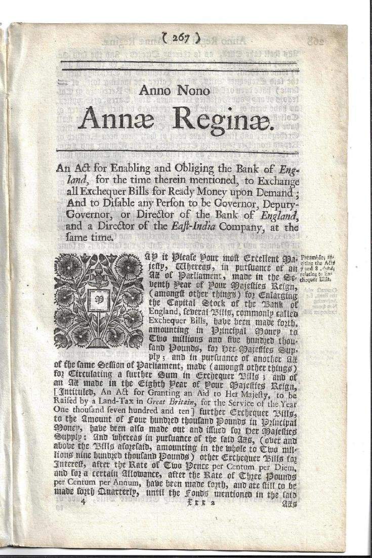 1711 English Act East India Company Queen Anne - 2