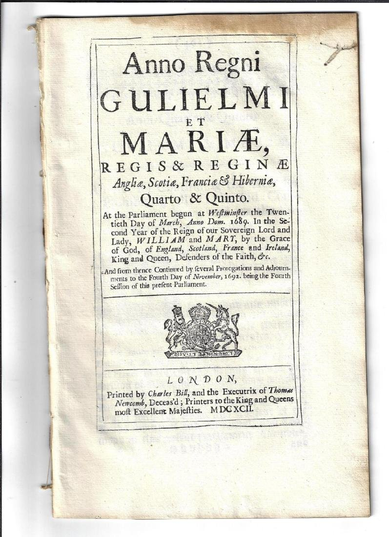 1692 English Act Wm and Mary Prohibit Trade France