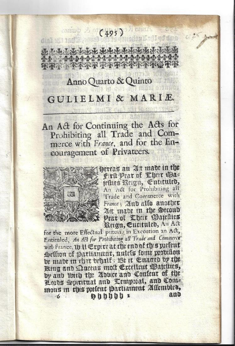1692 English Act Wm and Mary Prohibit Trade France - 2