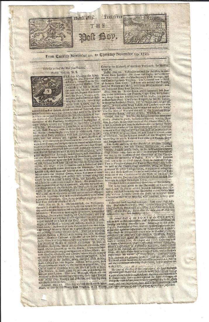 1720 Newspaper The Post Boy Nice Masthead
