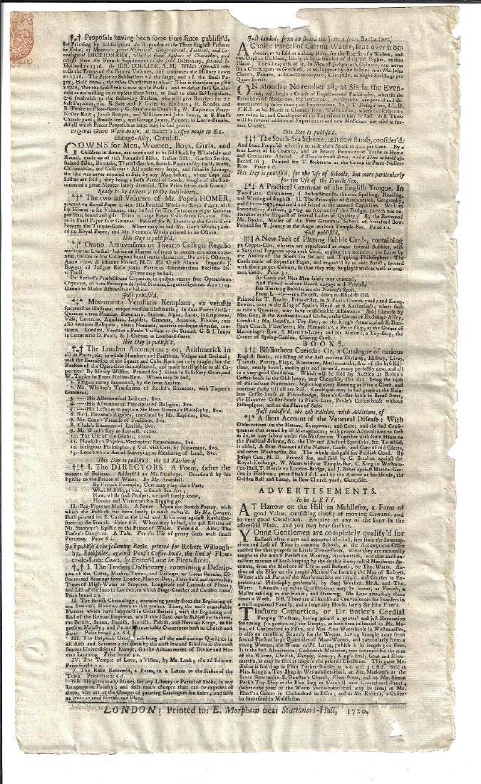 1720 Newspaper The Post Boy Nice Masthead - 2