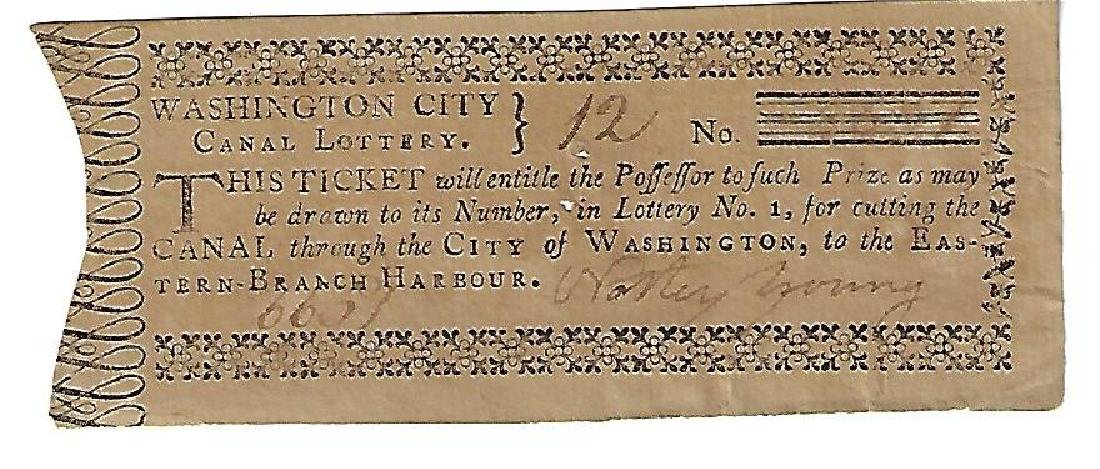 1796 Washington City Canal Lottery Ticket