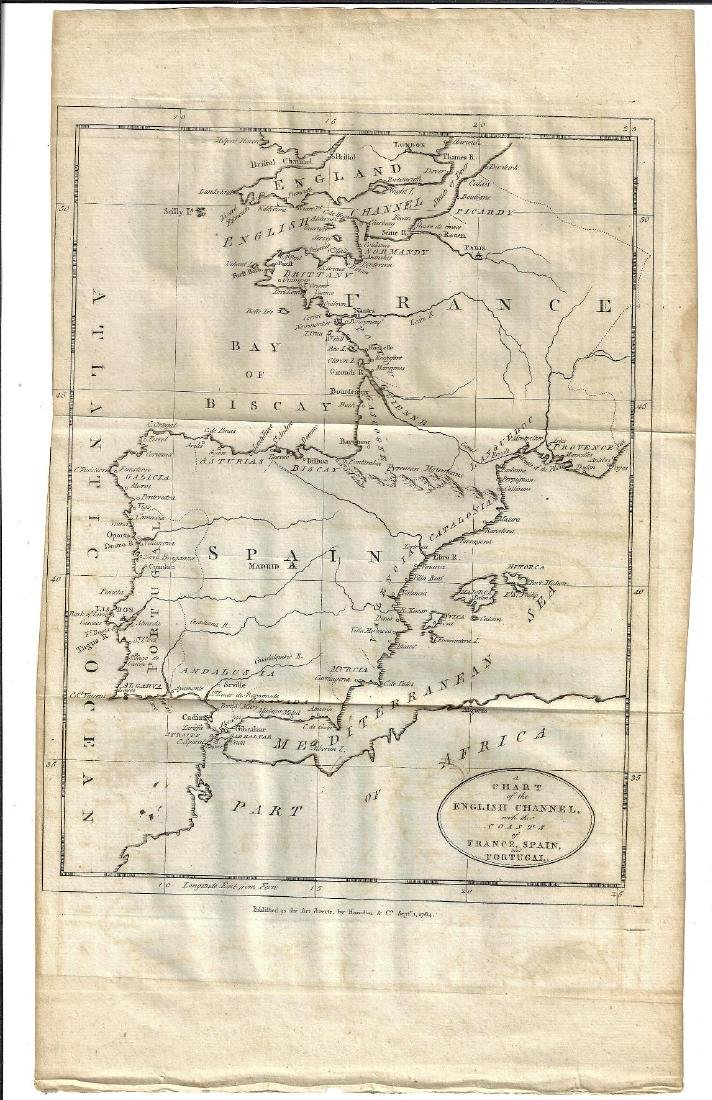 1784 Chart of the English Channel France Spain