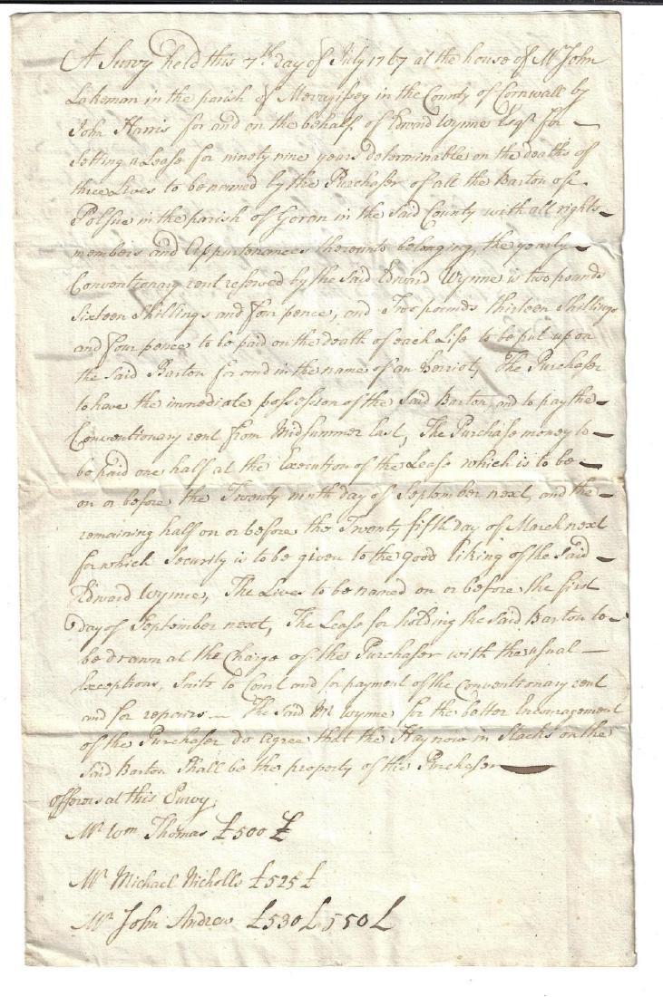 1767 English Manuscript Estate Survey