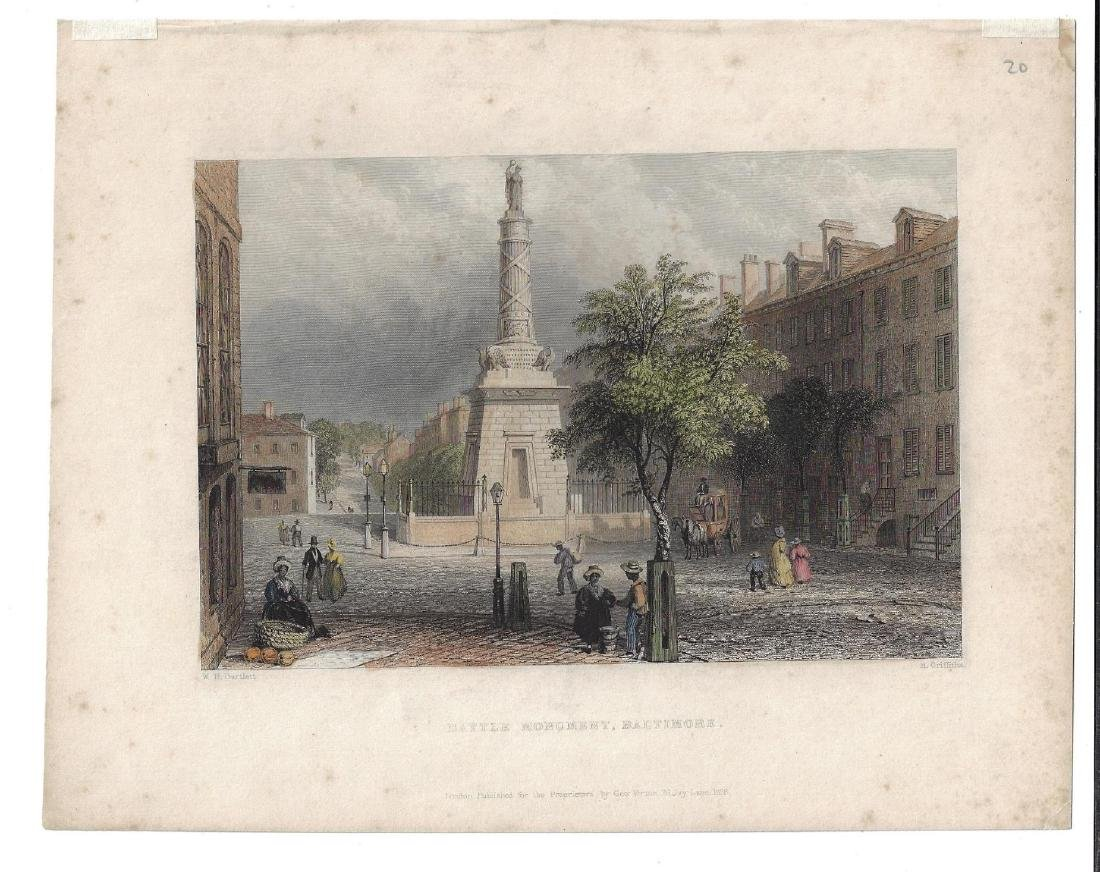 1838 Bartlett Colored Engraving Battle Monument