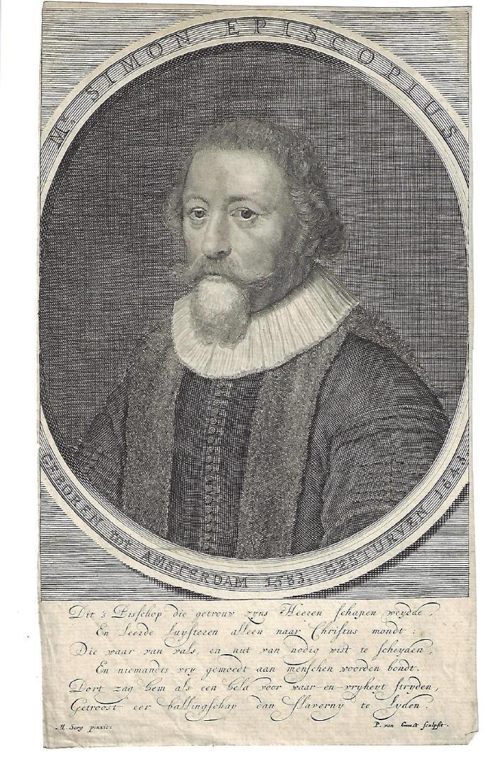 17th C Engraving Simon Episcopus of Amsterdam