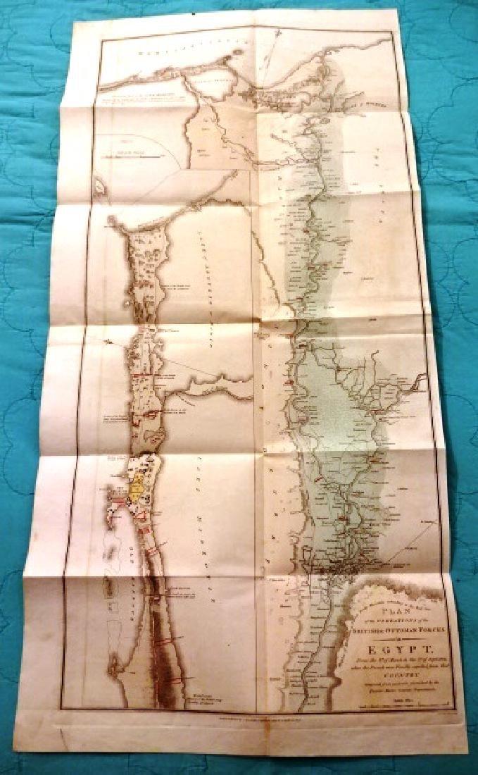 1802 Large Folding Plan British Operations Egypt