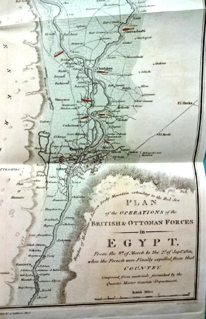 1802 Large Folding Plan British Operations Egypt - 2