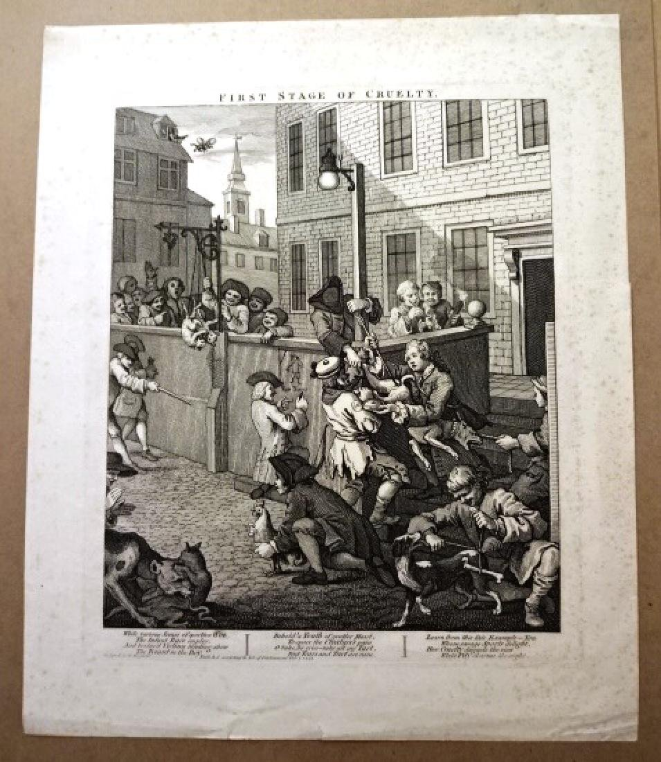 c1810 Engraving First Stage of Cruelty Hogarth