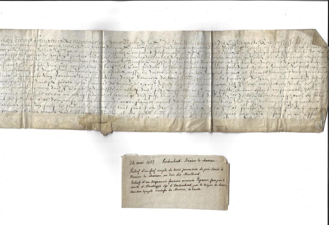 1659 Vellum French Manuscript Fief Brabant - 2