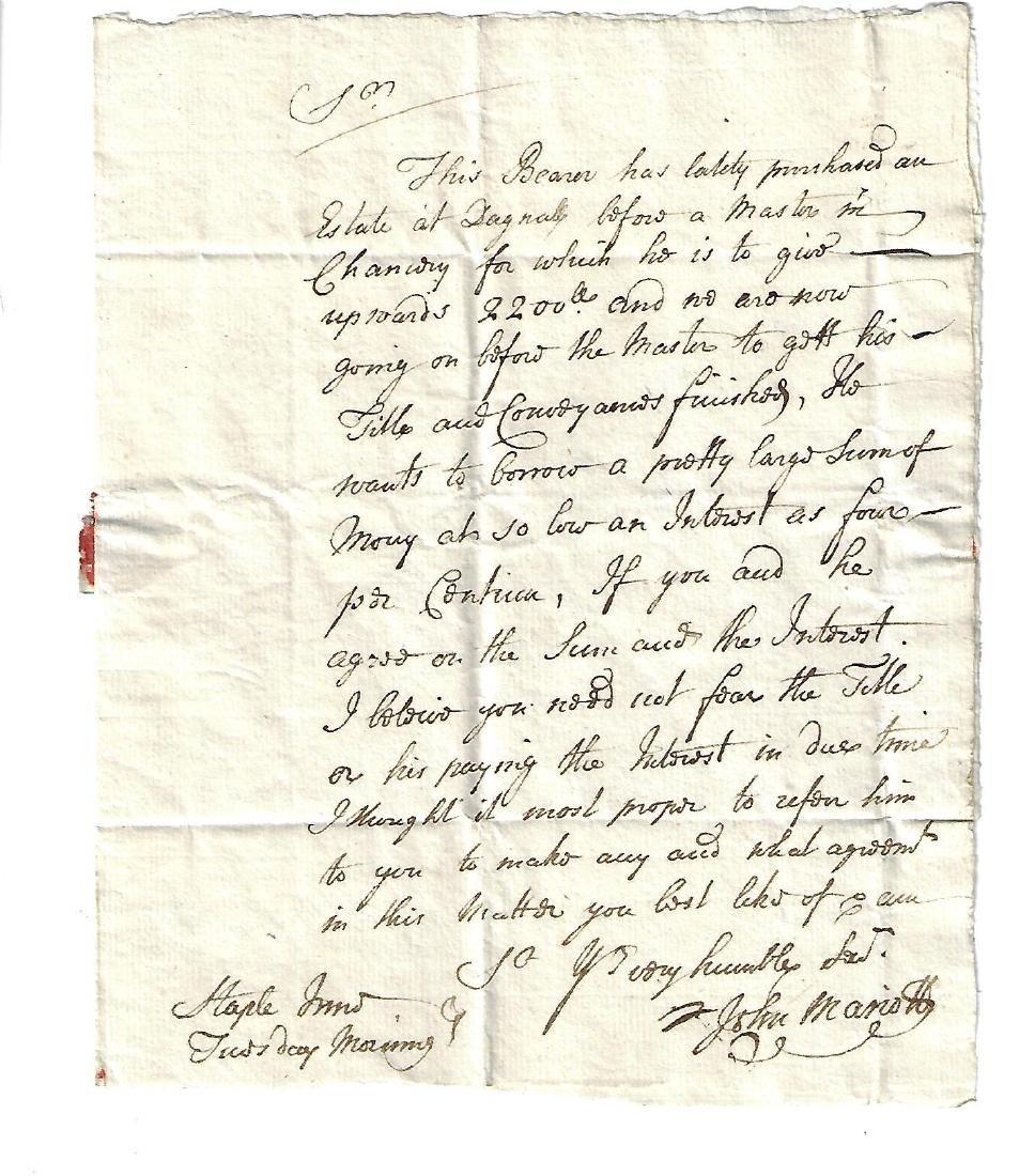 17th C Folded English Letter John Mariott