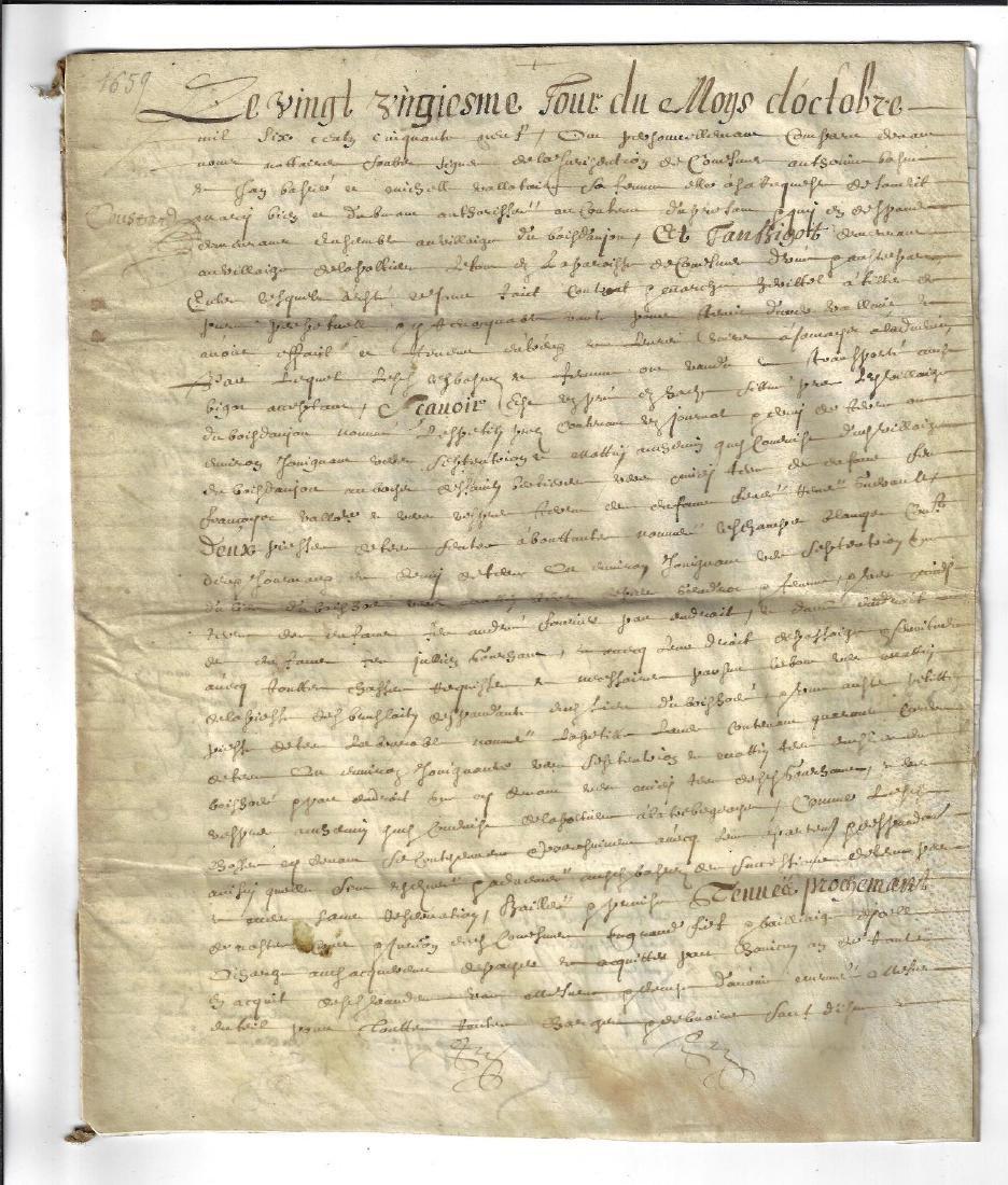 1659 French Manuscript on Vellum Signed