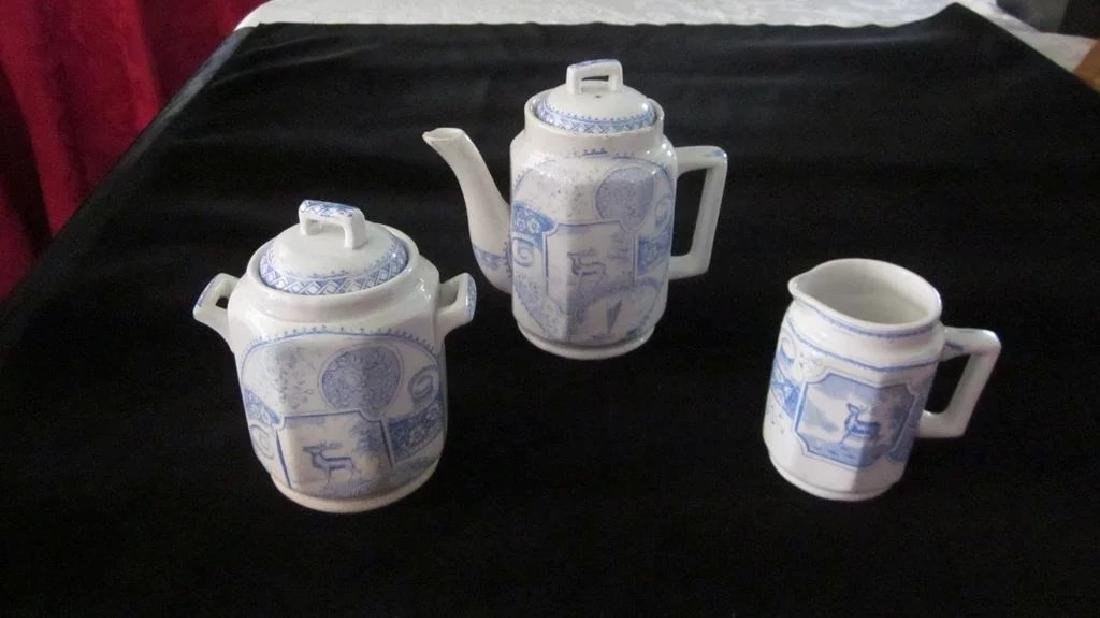 Victorian Stag 750 Child's Tea Set, Blue and White