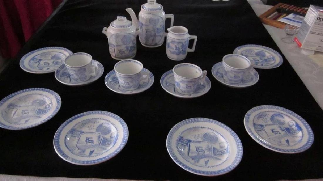 Victorian Stag 750 Child's Tea Set, Blue and White - 2
