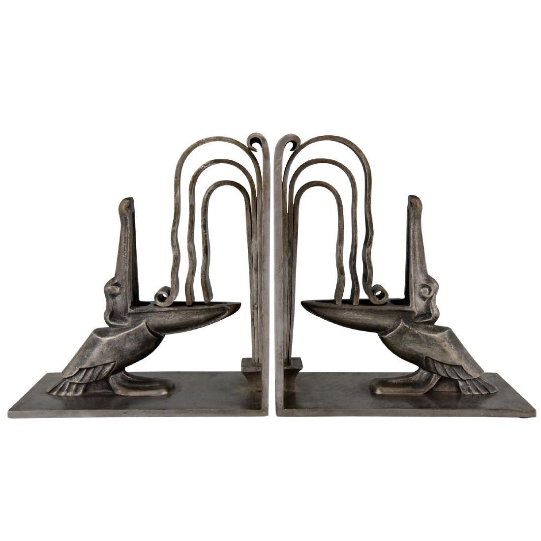 Edgar Brandt: Art Deco wrought iron pelican bookends