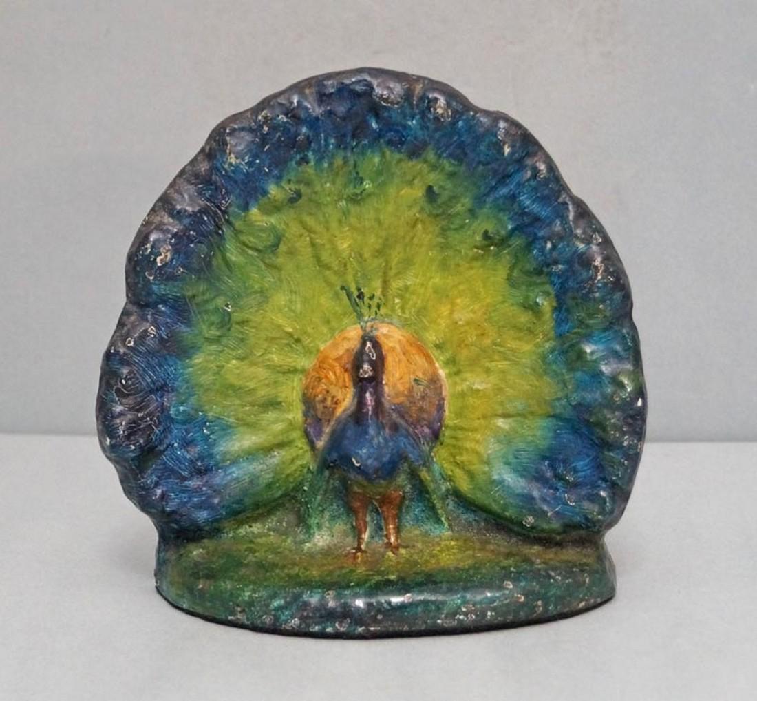 Antique Peacock Bird Cast Iron Doorstop