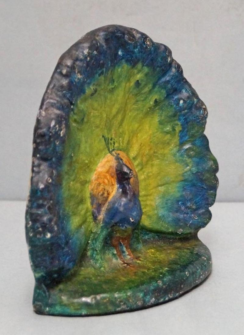 Antique Peacock Bird Cast Iron Doorstop - 2