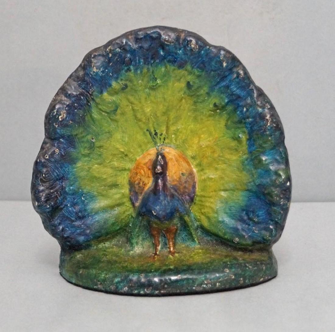 Antique Peacock Bird Cast Iron Doorstop - 5