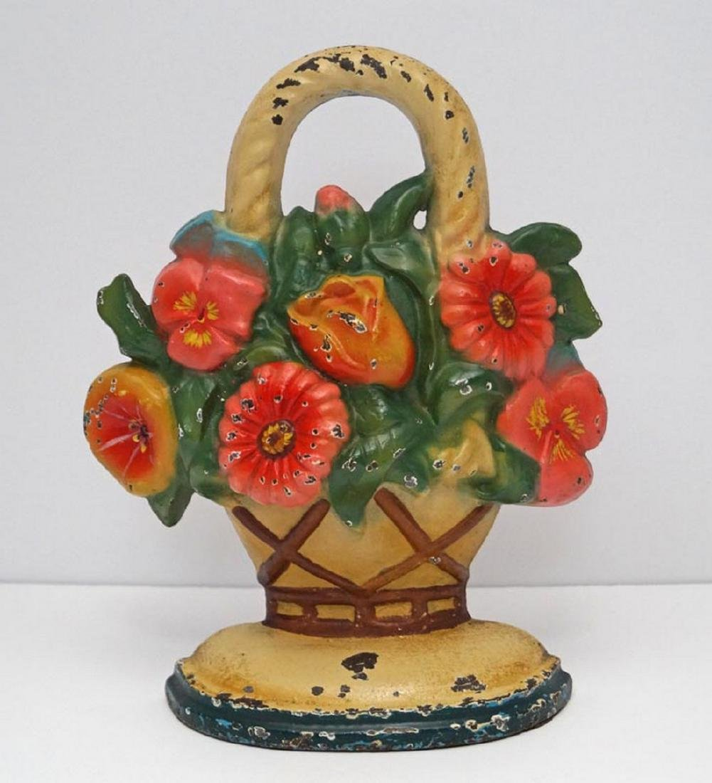 Antique Mixed Flowers in Basket Cast Iron Doorstop