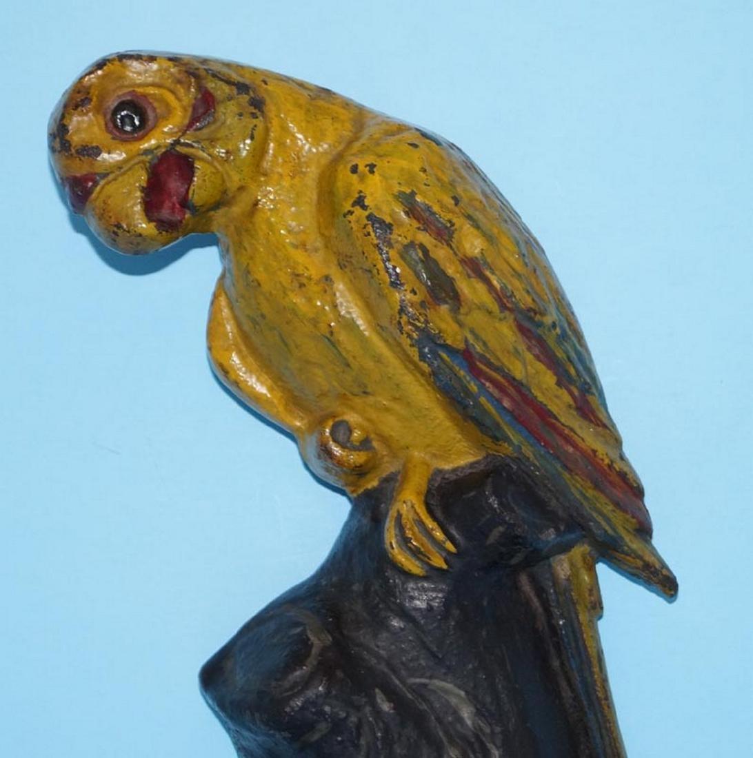 Antique Parrot on Stump Bird Cast Iron Doorstop - 2