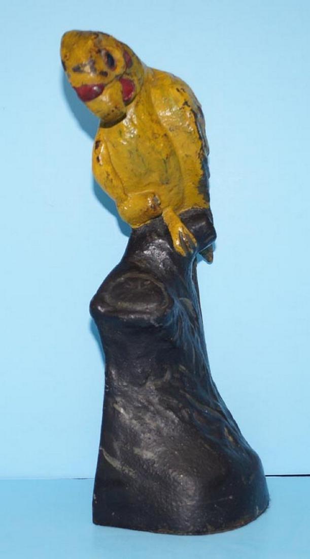 Antique Parrot on Stump Bird Cast Iron Doorstop - 3