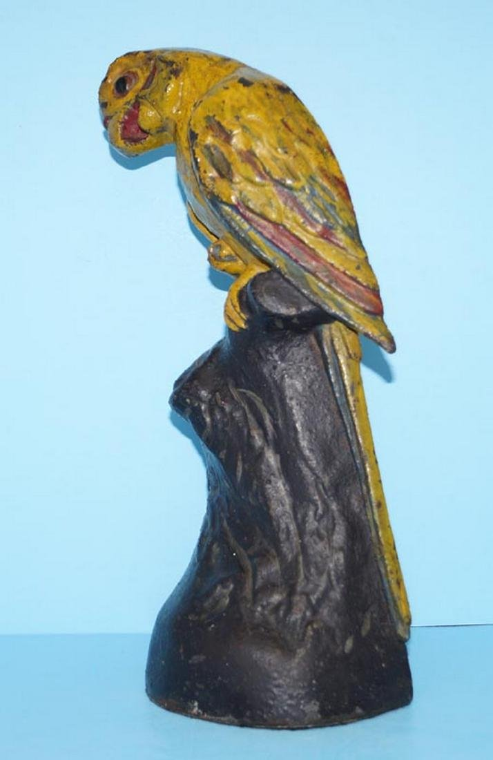 Antique Parrot on Stump Bird Cast Iron Doorstop - 4