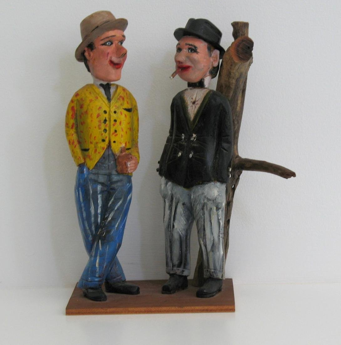 Great Folk Art Carving Of Two Gents