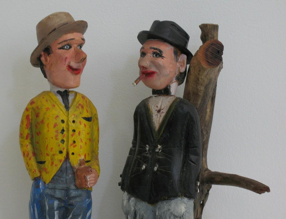 Great Folk Art Carving Of Two Gents - 2