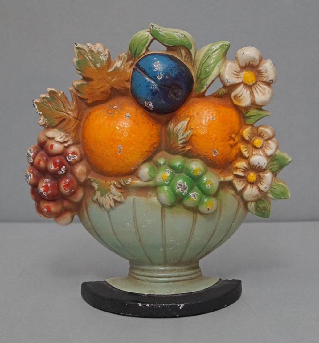 Fruit Bowl & Flowers Cast Iron Hubley Doorstop
