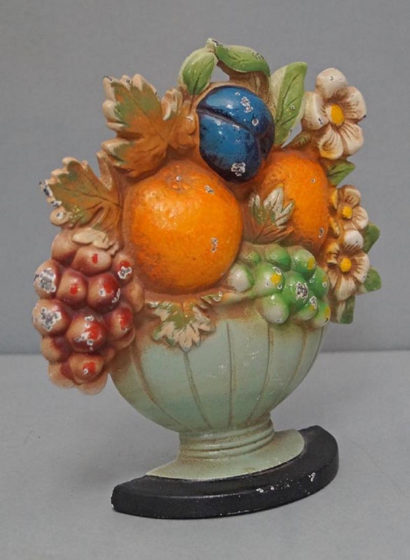 Fruit Bowl & Flowers Cast Iron Hubley Doorstop - 2