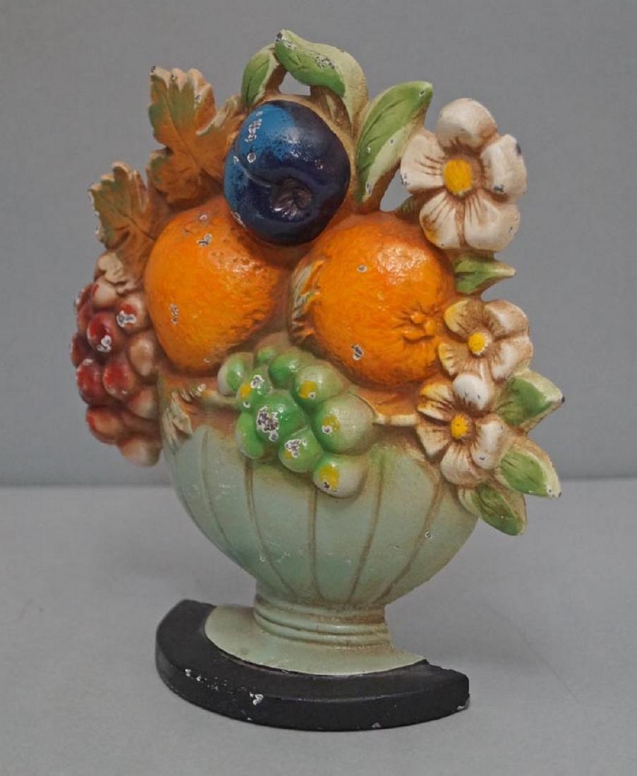 Fruit Bowl & Flowers Cast Iron Hubley Doorstop - 3
