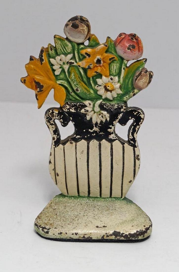 Antique Daisy & Mixed Flowers Cast Iron Doorstop