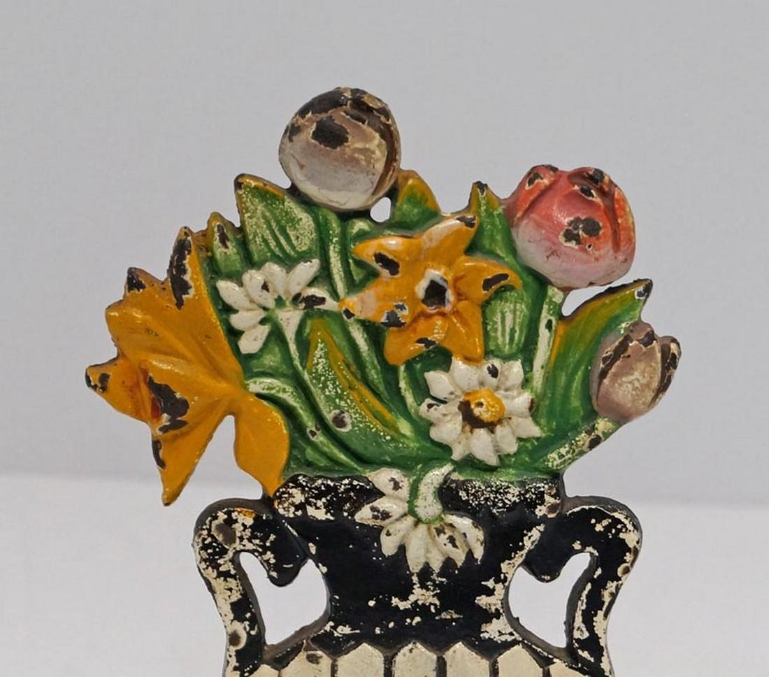 Antique Daisy & Mixed Flowers Cast Iron Doorstop - 3