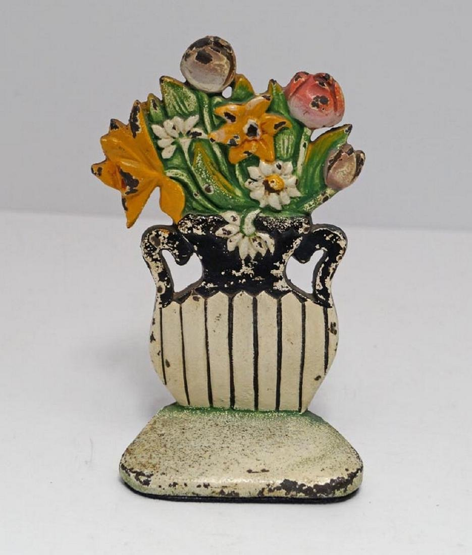 Antique Daisy & Mixed Flowers Cast Iron Doorstop - 6