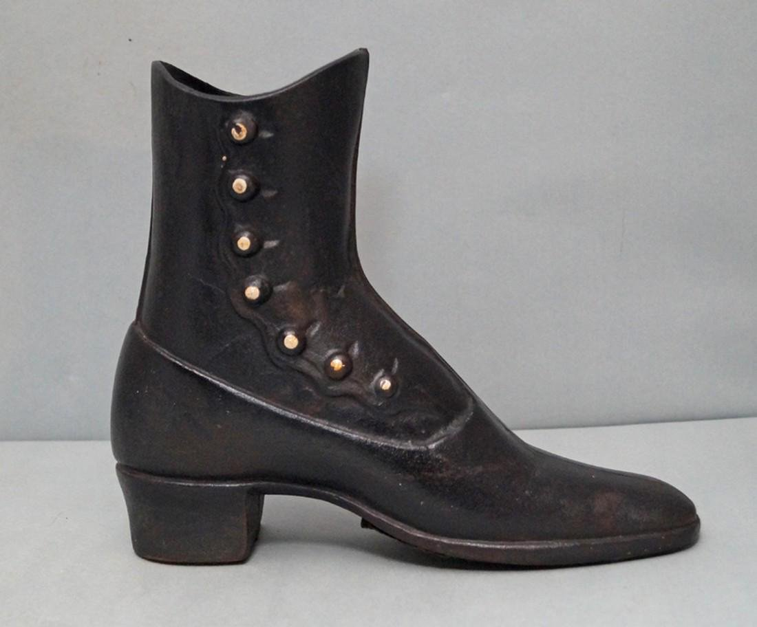 Antique High Top Button Shoe Cast Iron Doorstop - 2