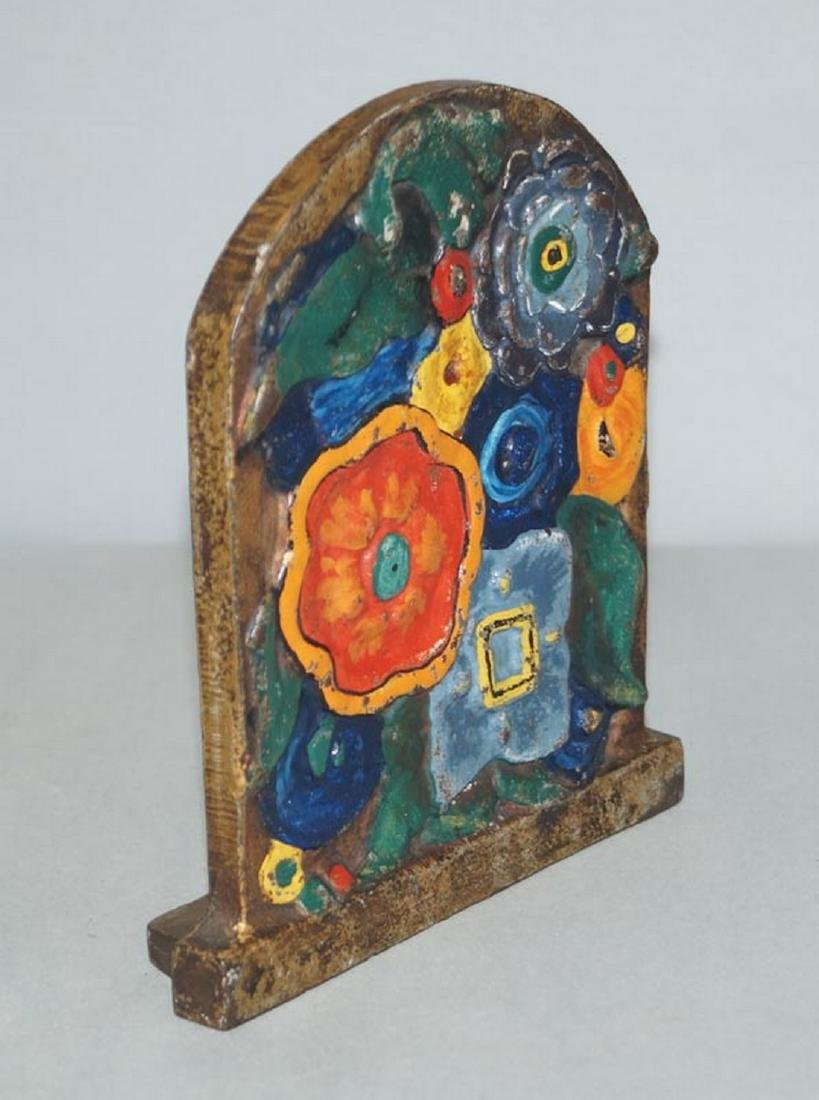 Antique Art Deco Flowers Cast Iron Doorstop - 2