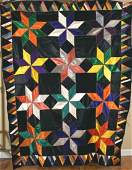 Vintage Stars Quilt w/ Black Background and Pyramid
