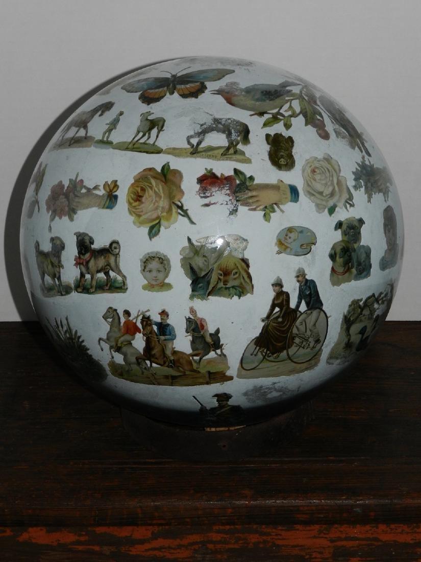 Decorated Blown Glass Globe - 2