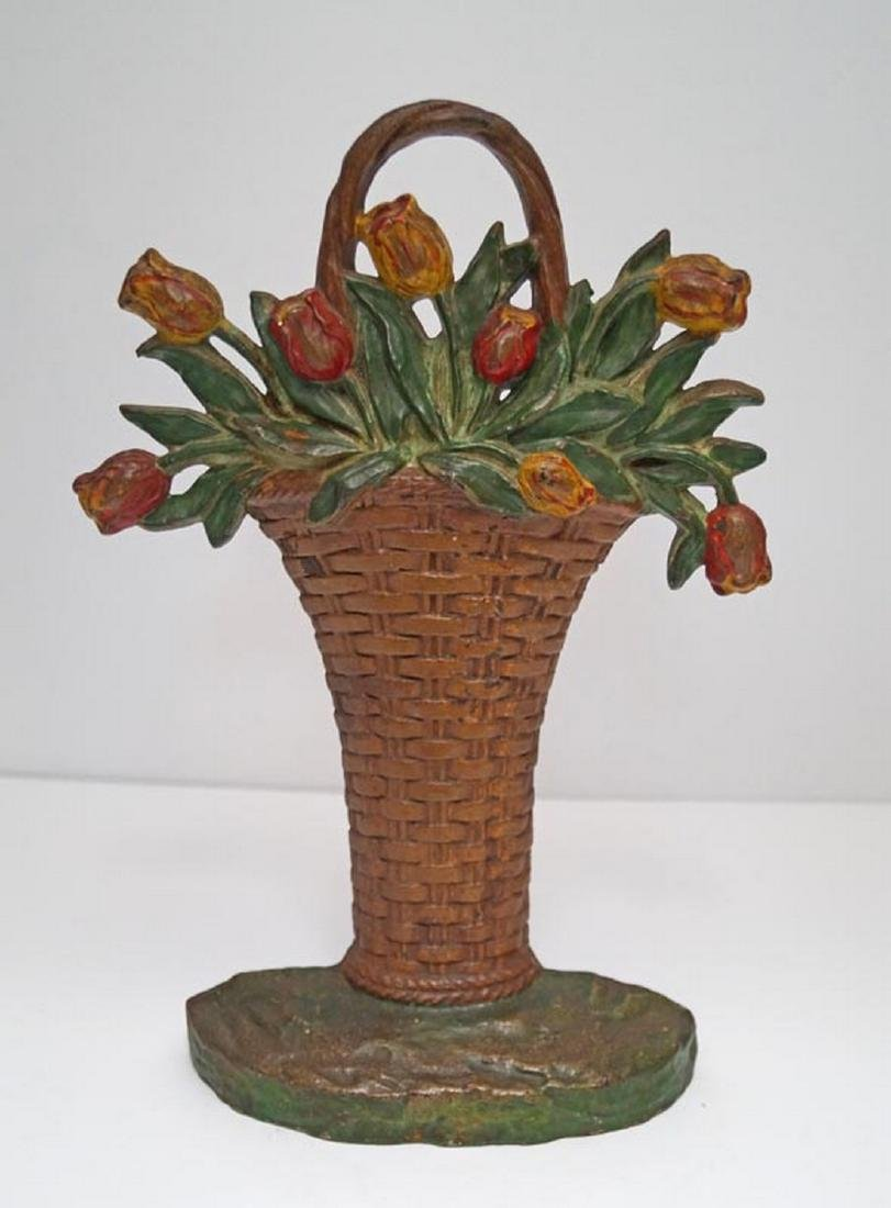 Tulip Flowers in Basket Cast Iron Hubley Doorstop - 2