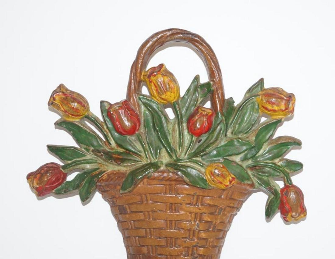 Tulip Flowers in Basket Cast Iron Hubley Doorstop - 3