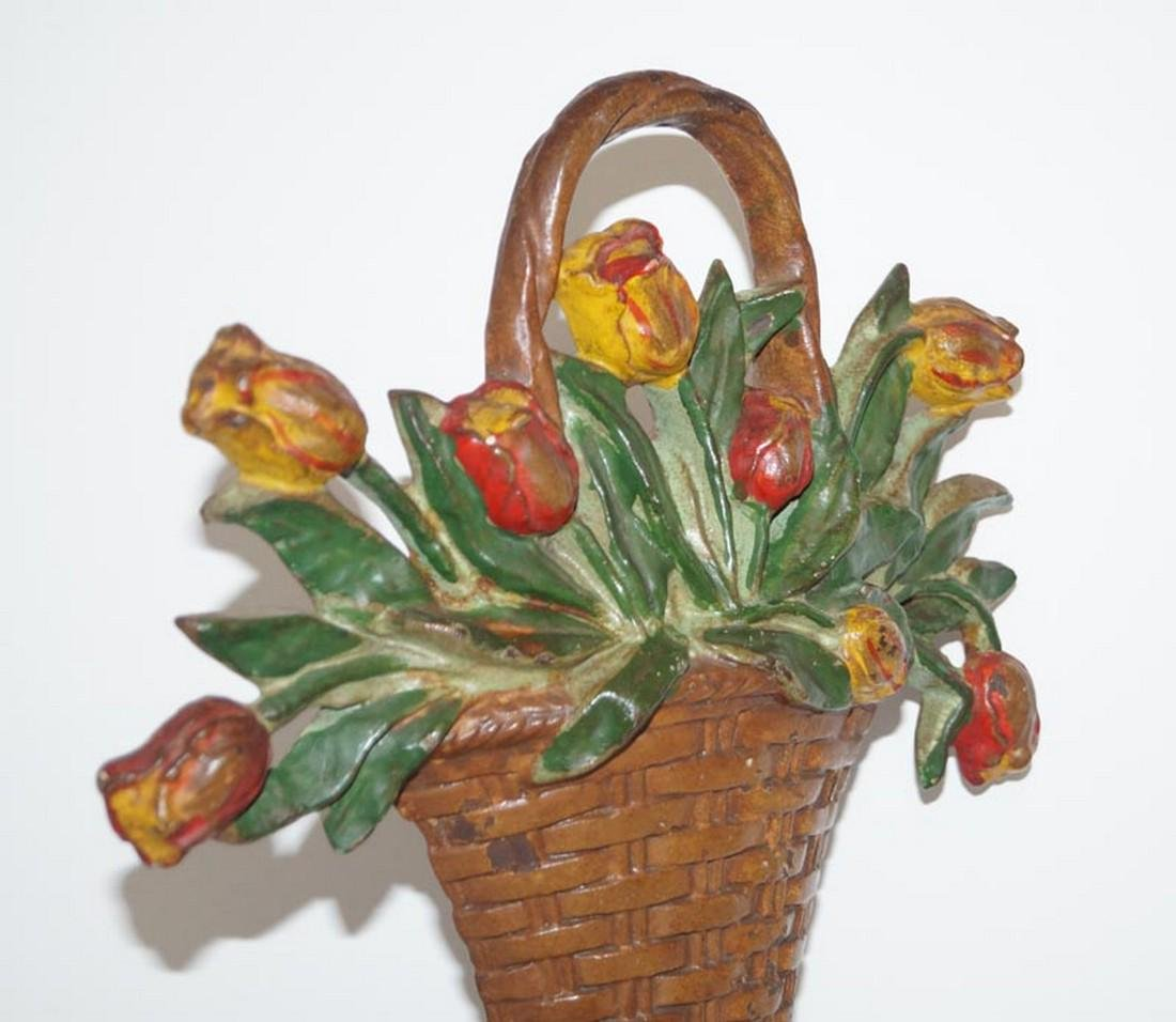 Tulip Flowers in Basket Cast Iron Hubley Doorstop - 4