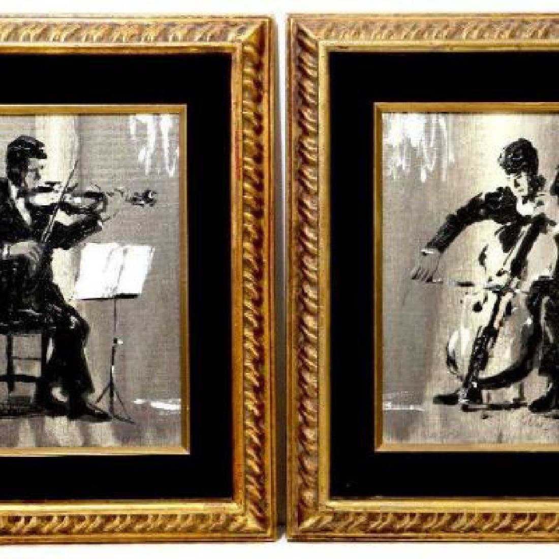 2 Original Oil Paintings on Canvas with Musicians