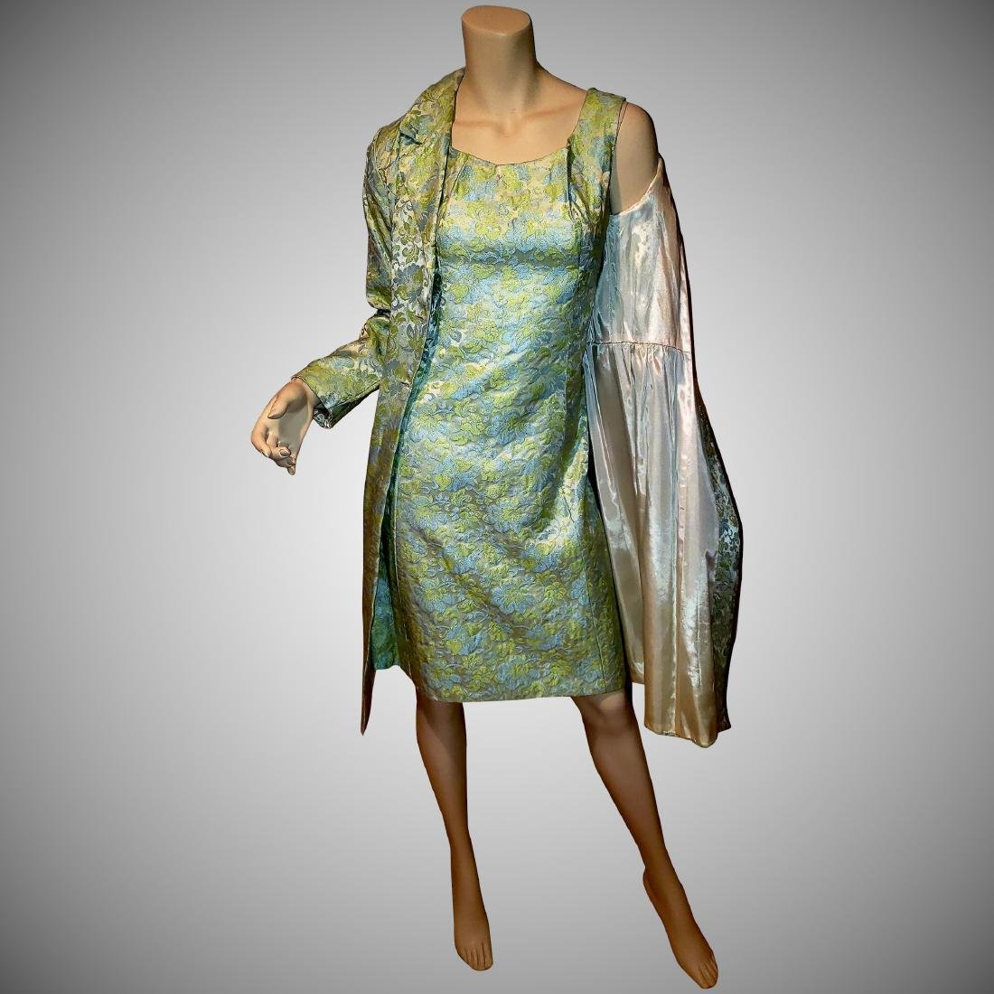 Vtg 1950 Floral Brocade dress coat and dress ensemble