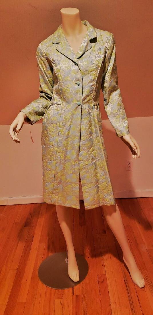 Vtg 1950 Floral Brocade dress coat and dress ensemble - 7
