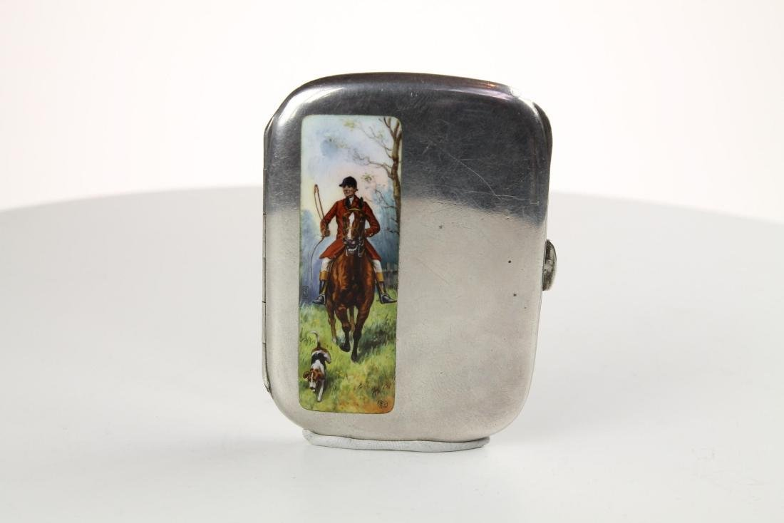 Silver and Enamel Hunting Cigarette case