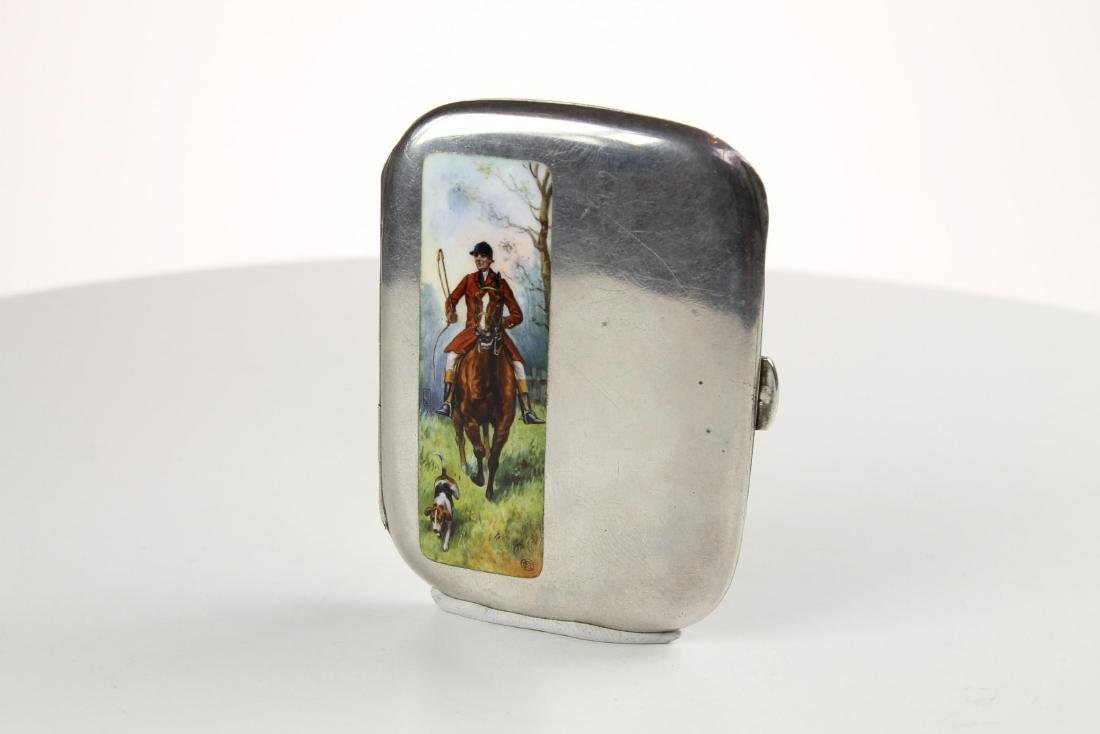 Silver and Enamel Hunting Cigarette case - 2