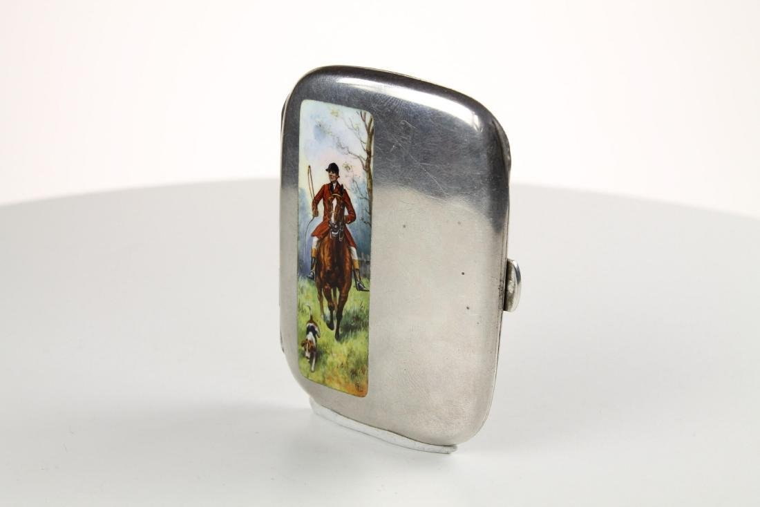 Silver and Enamel Hunting Cigarette case - 3