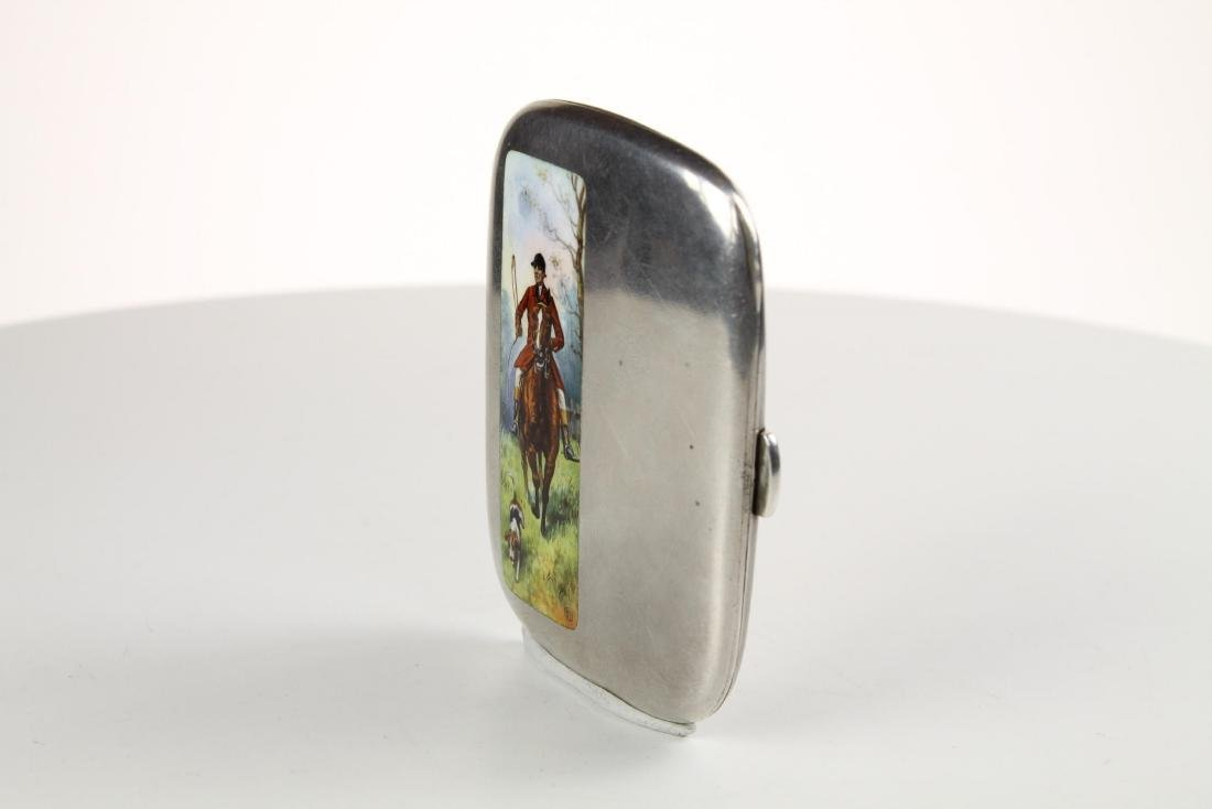 Silver and Enamel Hunting Cigarette case - 4