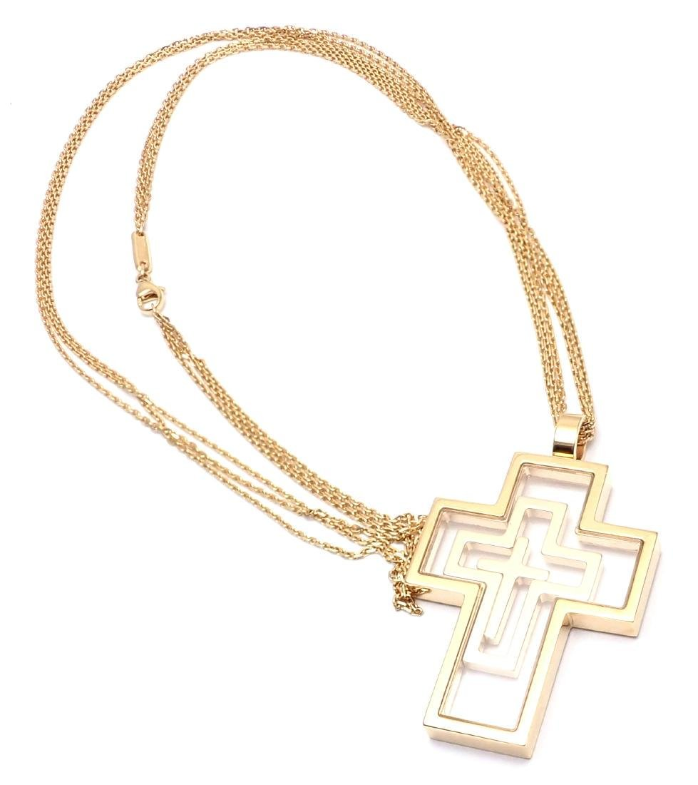 Chopard Cross Extra Large Yellow Gold Pendant Necklace - 10